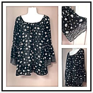 NWT Trendy Black Sheer Floral Blouse